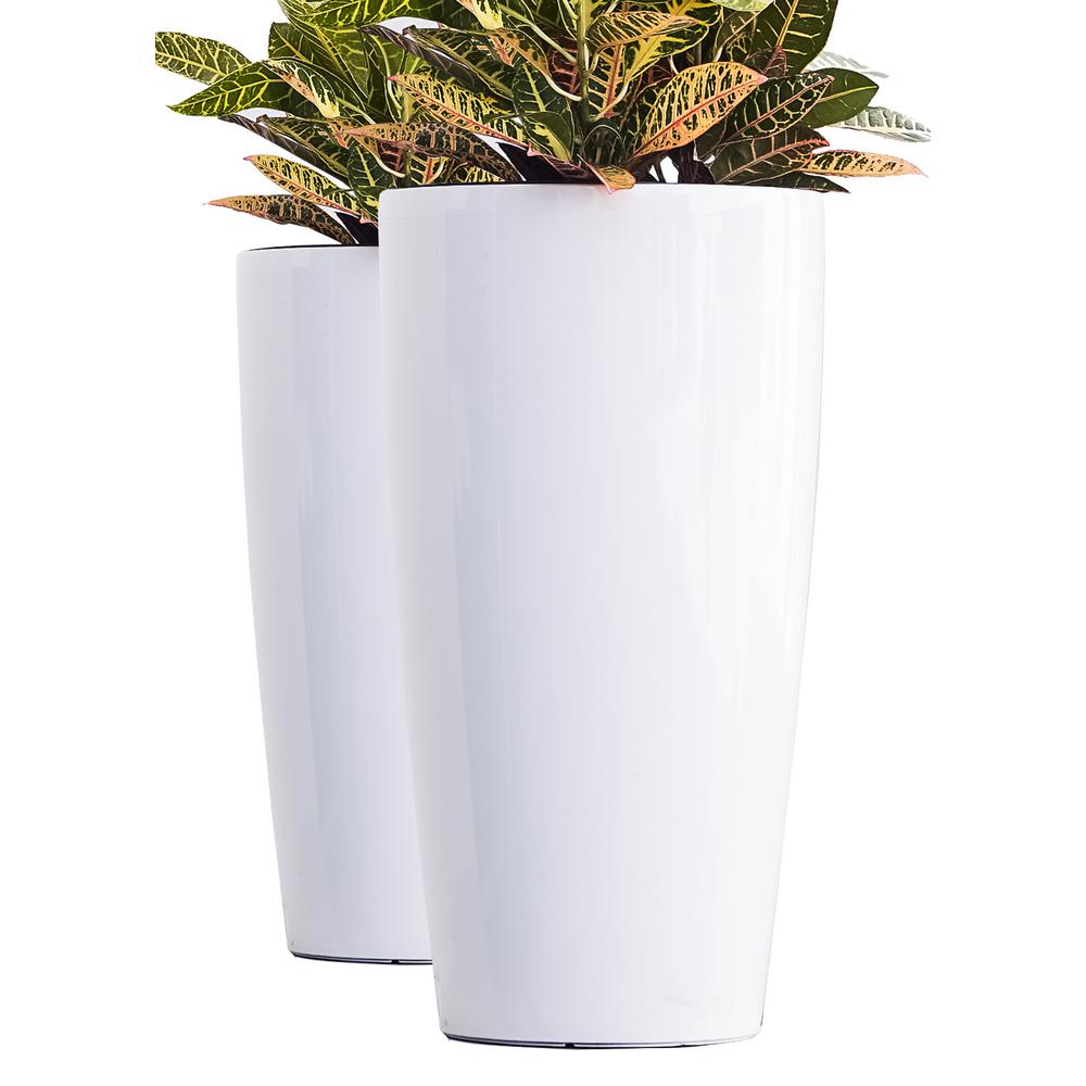 X Brand Xbrand 30 In Tall White Plastic Nested Self Watering Indoor Outdoor Tall Round Planter Pot Set Of 2 Pl3585wt The Home Depot