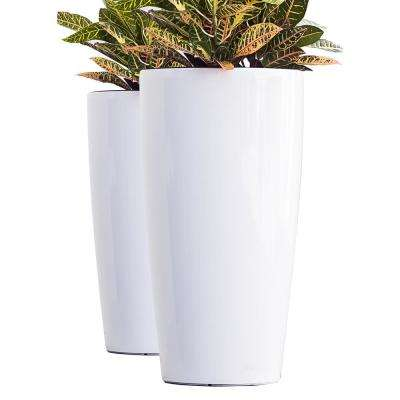 Xbrand 30 in. Tall White Plastic Nested Self Watering Indoor/Outdoor Tall Round Planter Pot (Set of 2)