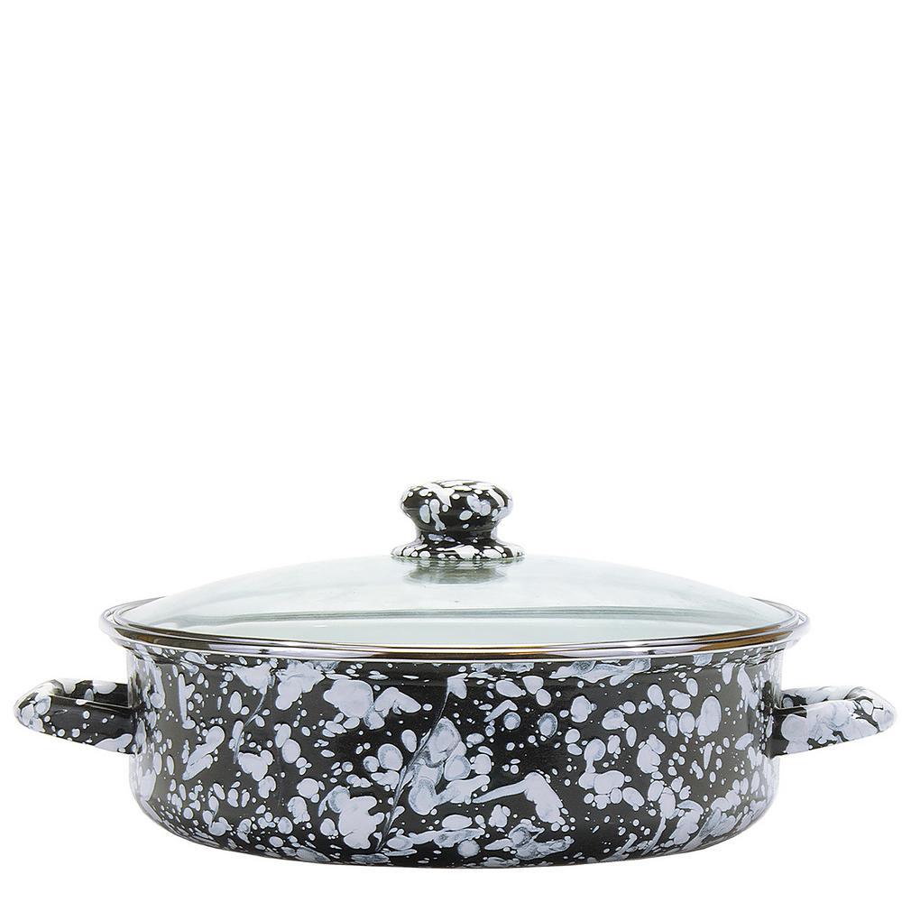 Black Swirl 5 qt. Enamelware Saute Pan with Glass Lid