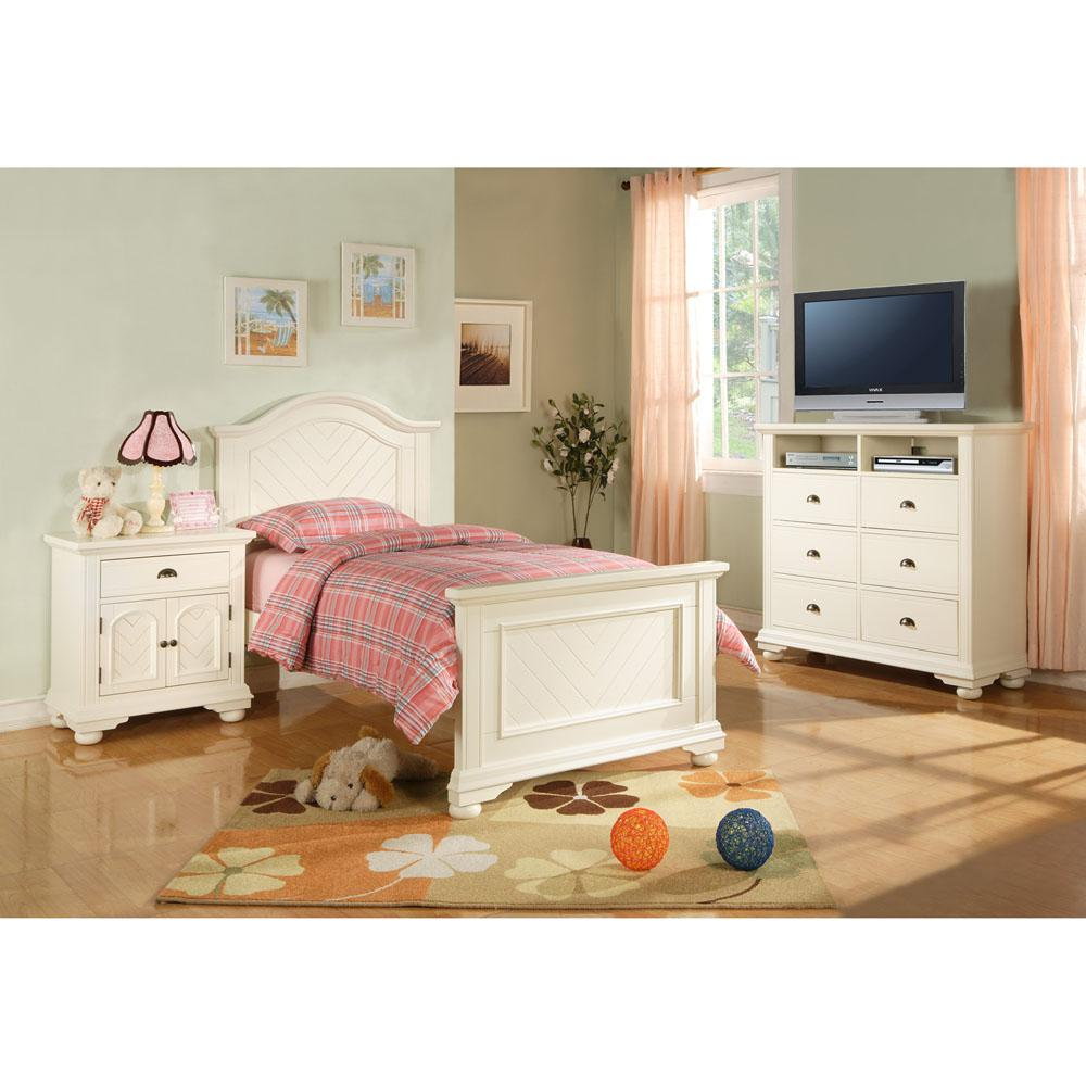 Hyde Park 5-Piece White Twin Bedroom Suite with Bed, Dresser ...