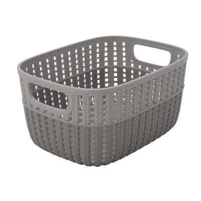 Sailor Knot 5 in. x 7 in. Small Storage Basket in 2-Tone Grey