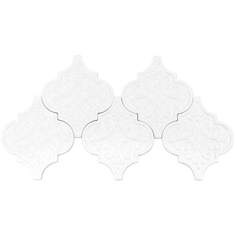 Ivy Hill Tile Vintage Florid Lantern White 6-1/4 in. x 7-1/4 in. x 8 mm Ceramic Wall Mosaic Tile (30 pieces 4.8 sq.ft./Box