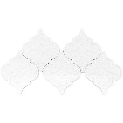 Vintage Florid Lantern White 6-1/4 in. x 7-1/4 in. x 8 mm Ceramic Wall Mosaic Tile (30 pieces 4.8 sq. ft. / Box)