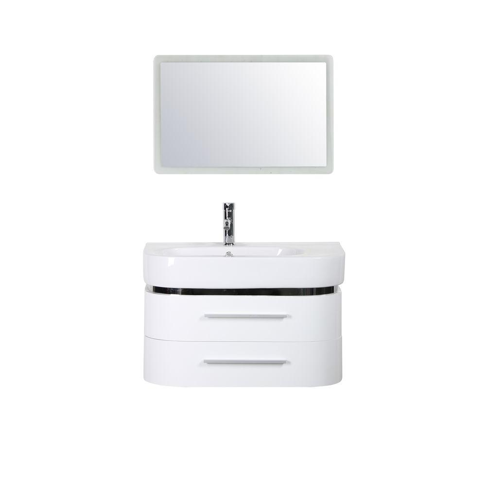 Decor Living Luna In W X In D Vanity In White With Ceramic - 30 x 18 bathroom vanity for bathroom decor ideas