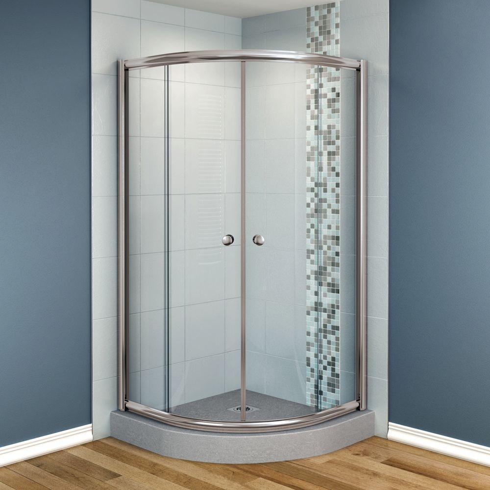 MAAX Talen 42 in. x 42 in. x 70 in. Neo-Round Frameless Corner Shower Door Clear Glass in Nickel Finish-DISCONTINUED