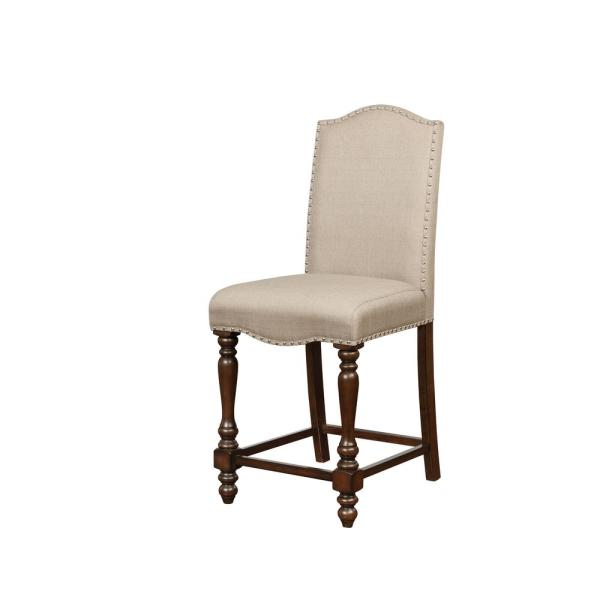 Linon Home Decor Warner 24.5 in. Brown Counter Stool THD00572