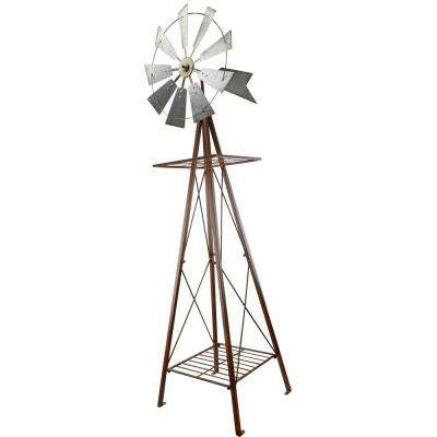 100 in. Large Galvanized and Rust Windmill