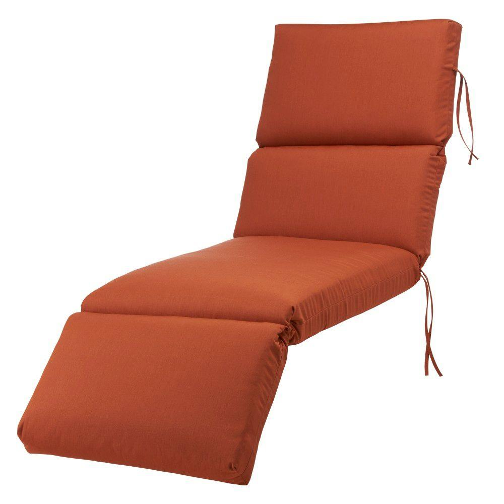 Home Decorators Collection Sunbrella Rust Bull-Nose Outdoor Chaise Lounge Cushion