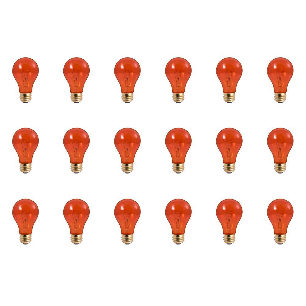 25-Watt A19 Transparent Orange Dimmable Incandescent Light Bulb (18-Pack)