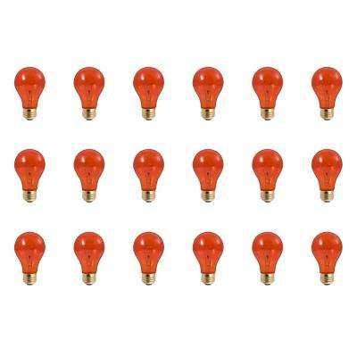 25-Watt A19 Transparent Orange Dimmable Incandescent Light Bulb (18-Pack)