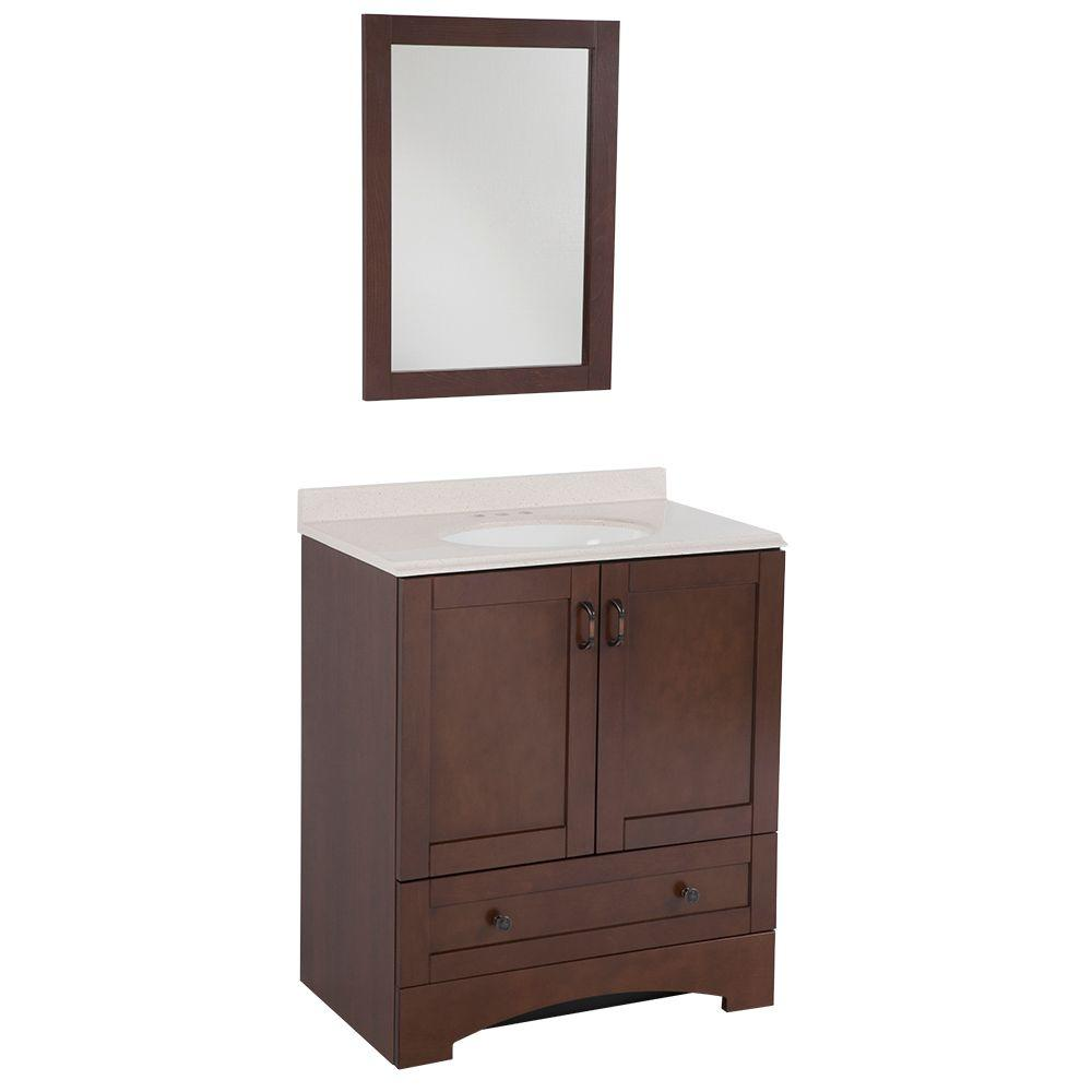 Glacier Bay Cordova 31 in. Vanity in Auburn with Colorpoint Composite Vanity Top in Coral and Mirror-DISCONTINUED