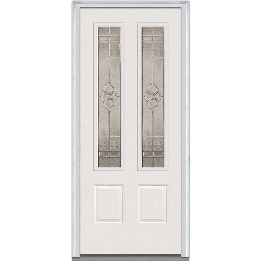 Milliken Millwork 32 in. x 80 in. Master Nouveau Decorative Glass 2 Lite 2-Panel Primed White Steel Prehung Front Door