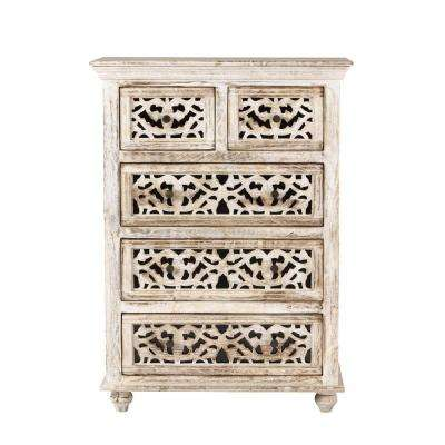 Maharaja 5-Drawer Sandblast White Chest