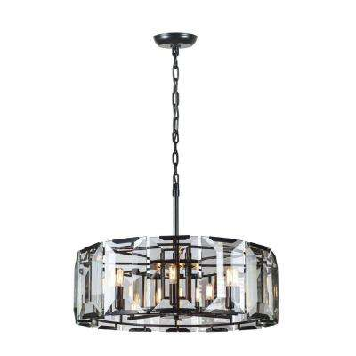 Monaco 8-Light Flat Black Matte Glass Crystal Clear Pendant