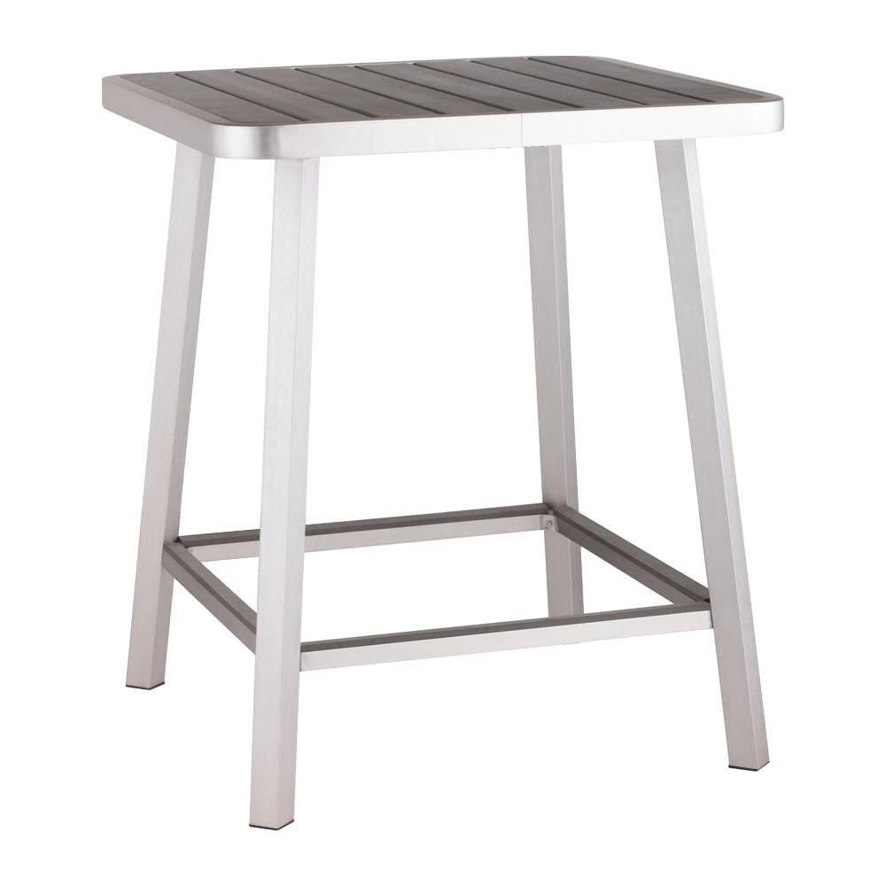 Zuo Megapolis Brushed Aluminum Patio Bar Table