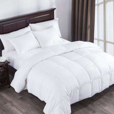 Heavy Fill White Goose Down Comforter 400 Thread Count Cotton Sateen Twin in White