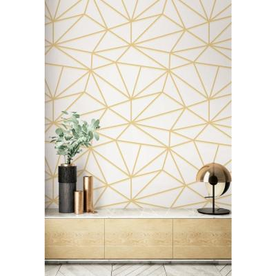 Quartz Metallic Gold and Off-White Geometric Wallpaper