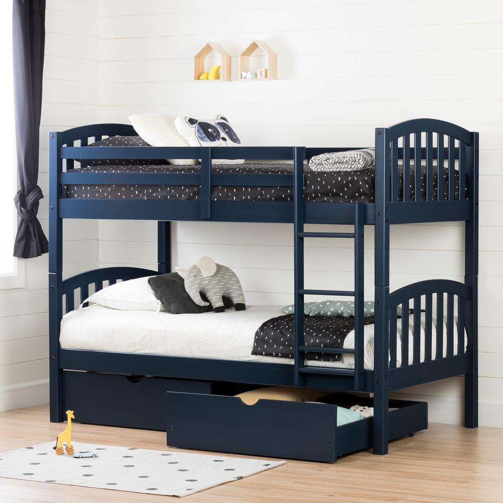 South Shore Ulysses Navy Blue Twin Bunk Bed 11824 The Home Depot