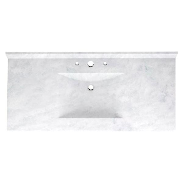 Contour 49 in. W x 22 in. D Solid Surface Vanity Top with Sink in Ice
