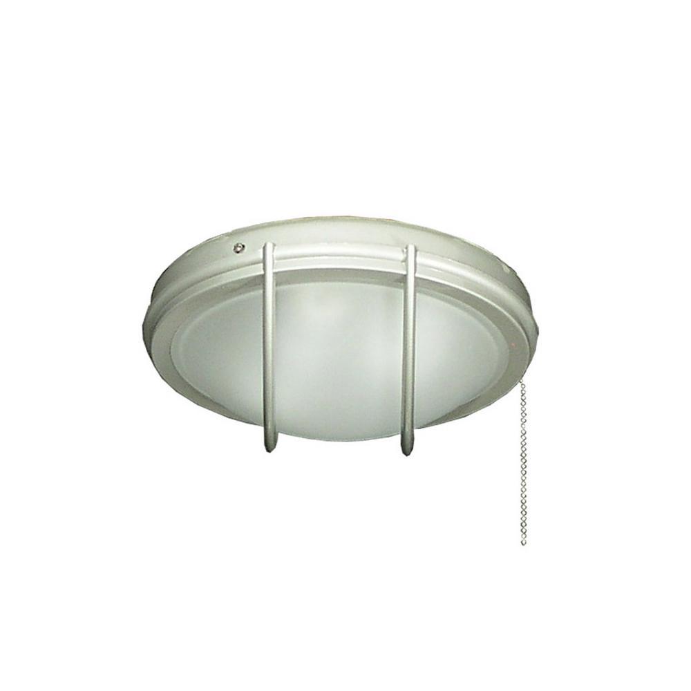 163 Indoor Outdoor Low Profile Brushed Nickel Ceiling Fan Light