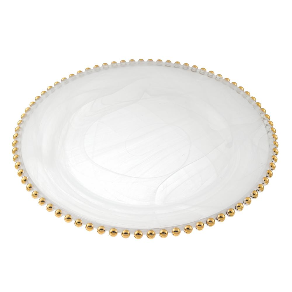 Gold Beaded 13 in. White Alabaster Handmade Glass Charger