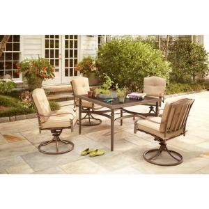 Eastham 5-Piece Patio Dining Set with Beige Cushions