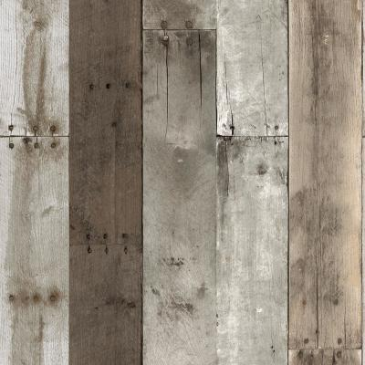 Repurposed Wood Weathered Peel and Stick Wallpaper 56 sq. ft.