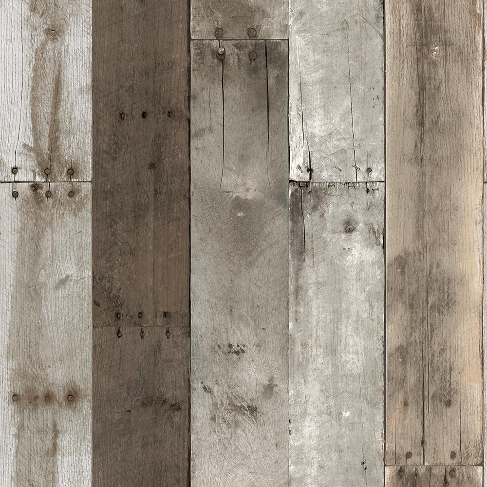 Repurposed Wood Weathered Peel and Stick Wallpaper 56 sq. ft.