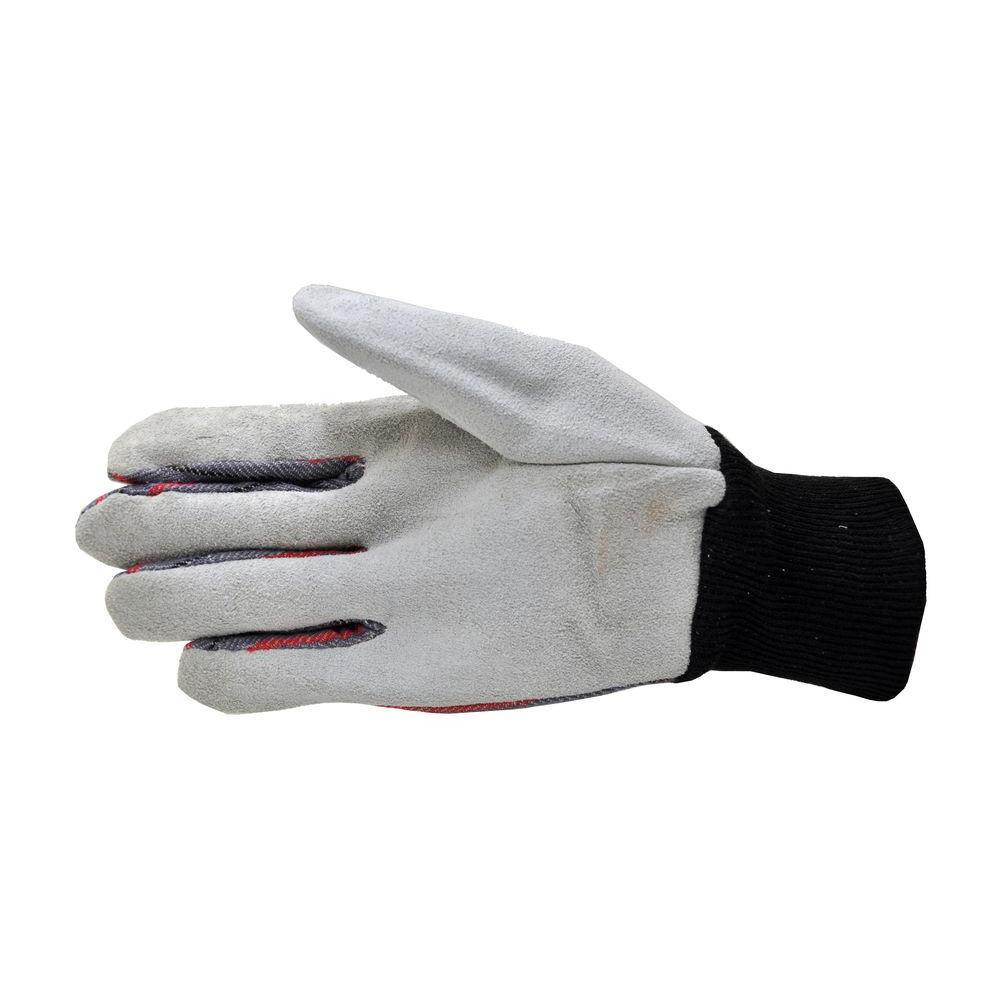 Leather Palm Knit Wrist Gloves (5 Pack), Grey