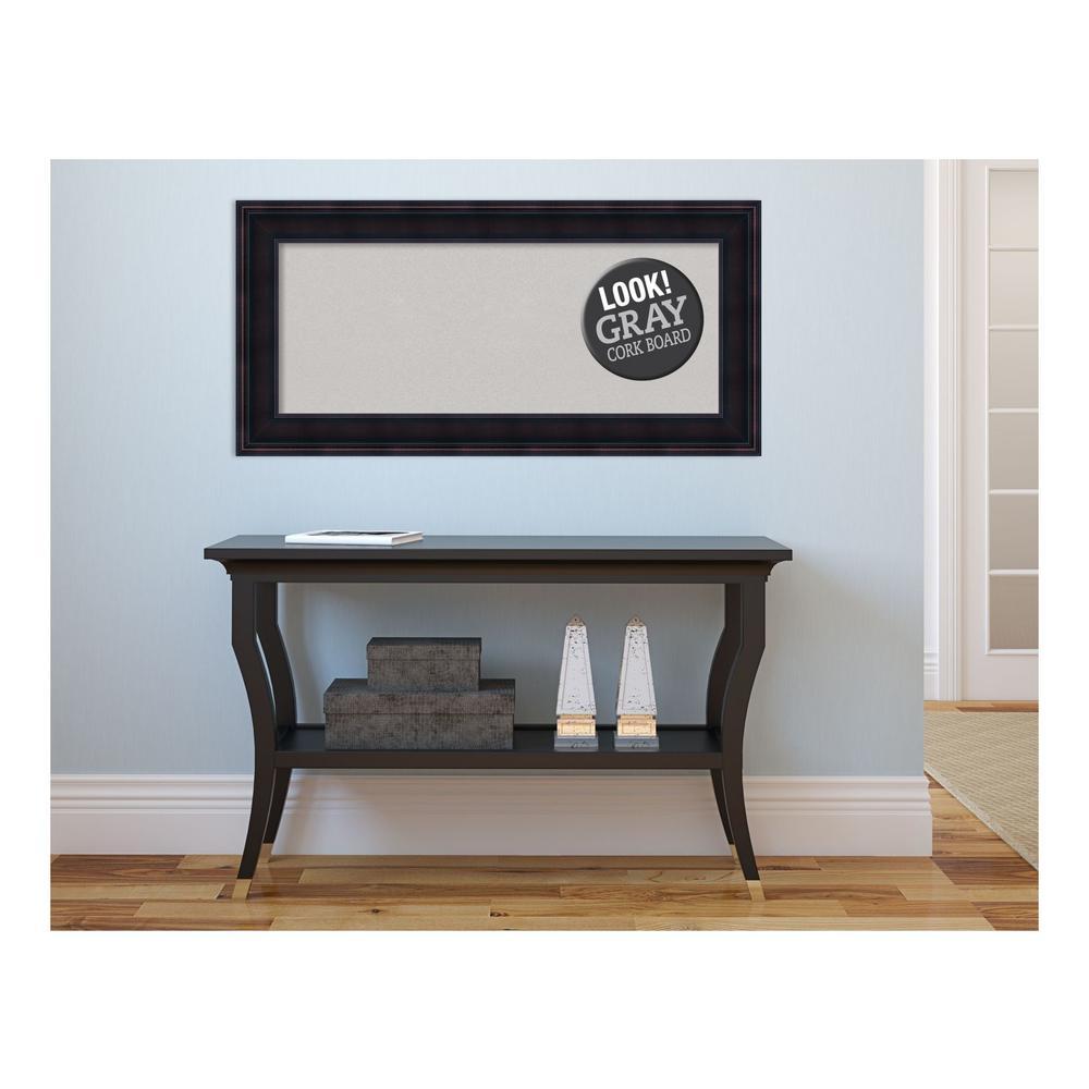 Annatto Mahogany Wood 35 in. x 17 in. Framed Grey Cork Board