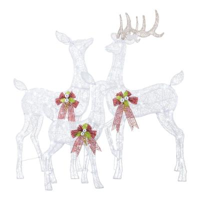 3-Piece Fantasleigh Outdoor Christmas Deer Family with LED Cool White Lights