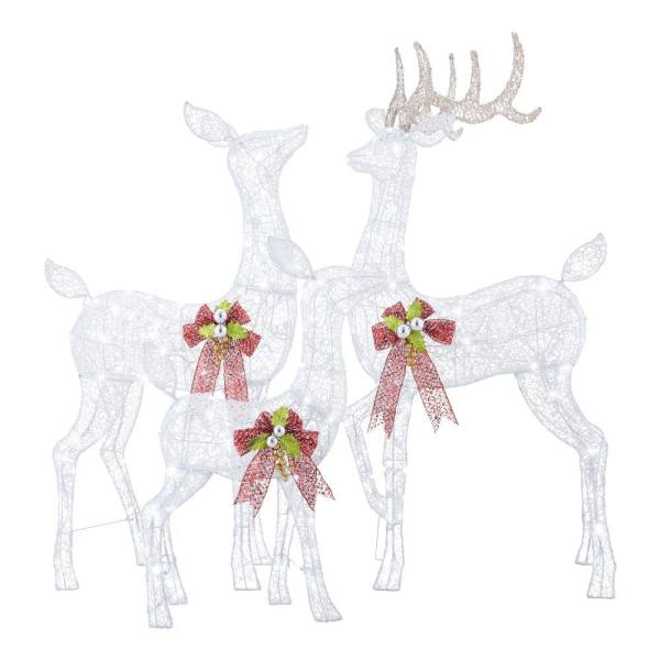 Home Accents Holiday 3 Piece Fantasleigh Outdoor Christmas Deer Family With Led Cool White Lights Ty594 2014 The Home Depot