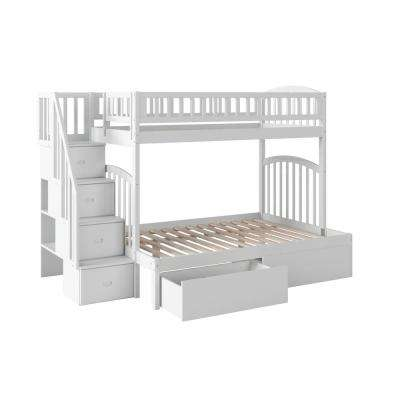 Westbrook White Twin Over Full Staircase Bunk with 2-Urban Bed Drawers
