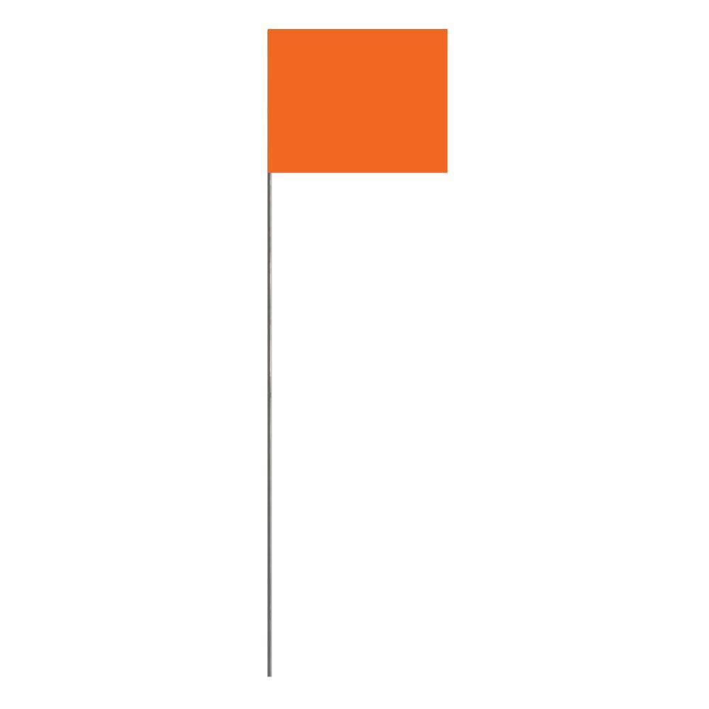 Presco 18 in. Glo Orange Stake Flag (100-Pack)