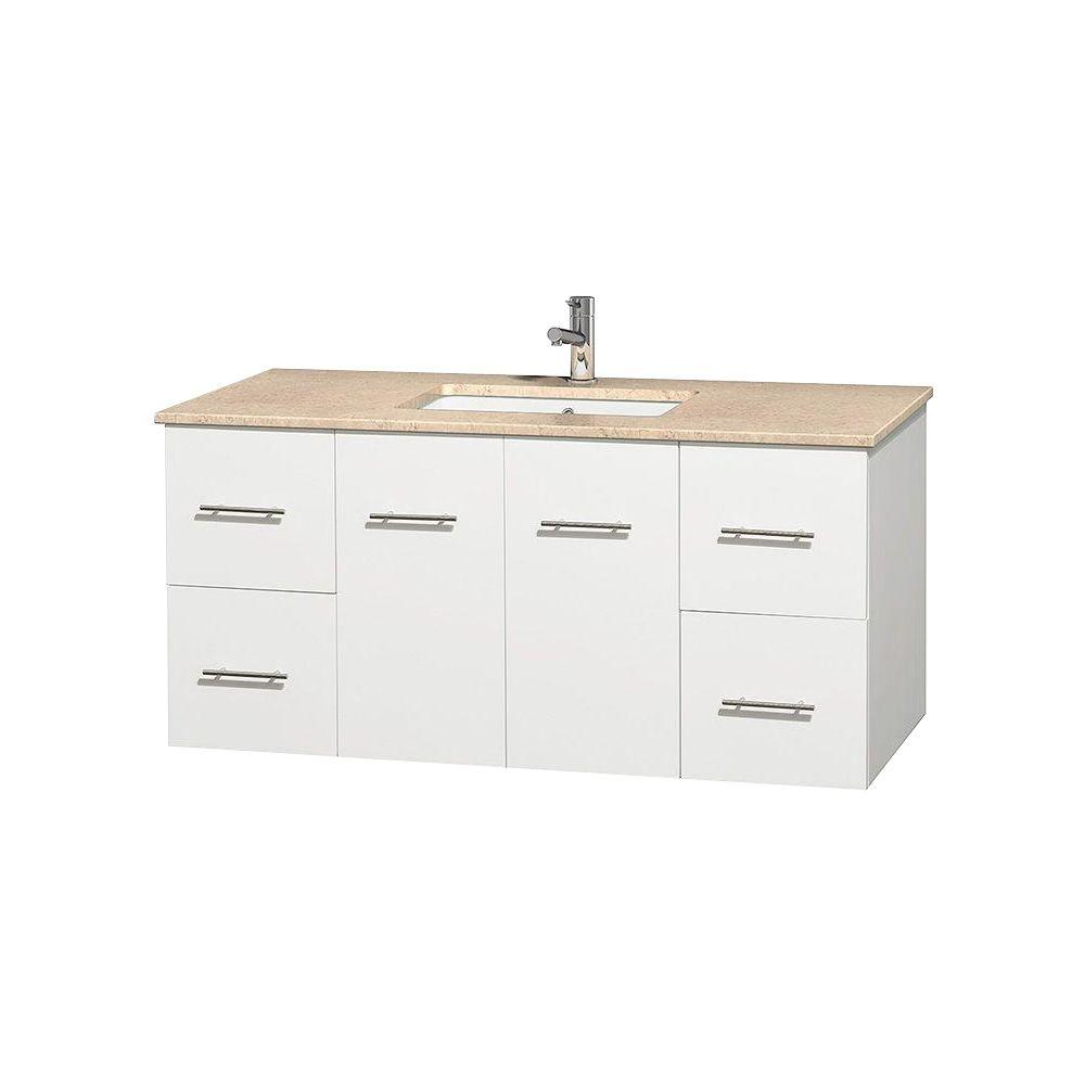Wyndham Collection Centra 48 in. Vanity in White with Marble Vanity Top in Ivory and Undermount Square Sink