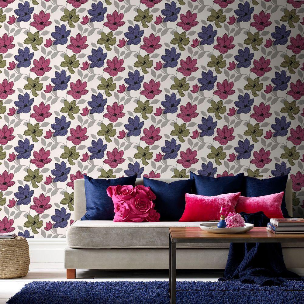 Superflora Pink Wallpaper