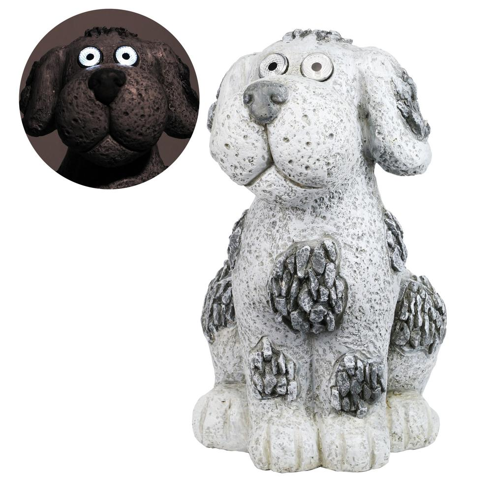 Alpine Corporation 14 in. Tall Solar Pebble Dog Garden Statue with White LED Light and On/Off Button