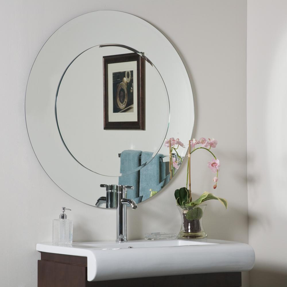 35 in. x 35 in. Oriana Round Modern Single Frameless Bathroom Mirror with Beveled Edge