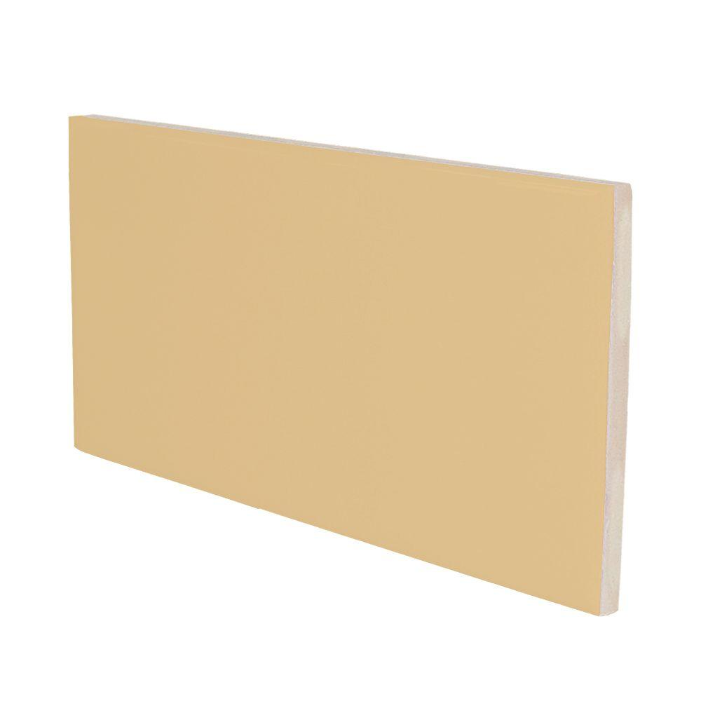 U.S. Ceramic Tile Color Collection Matte Camel 3 in. x 6 in. Ceramic Surface Bullnose Wall Tile-DISCONTINUED