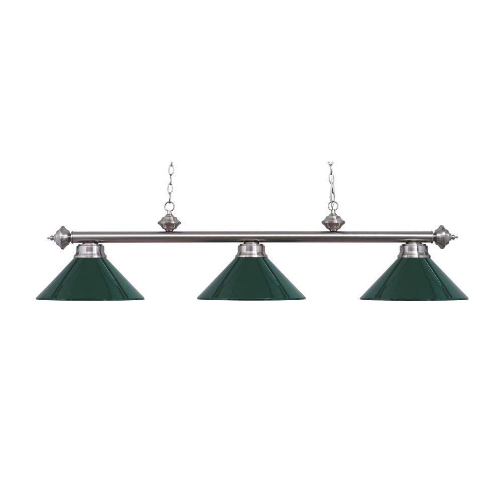 Titan Lighting 3-Light Ceiling Mount Satin Nickel Island Light