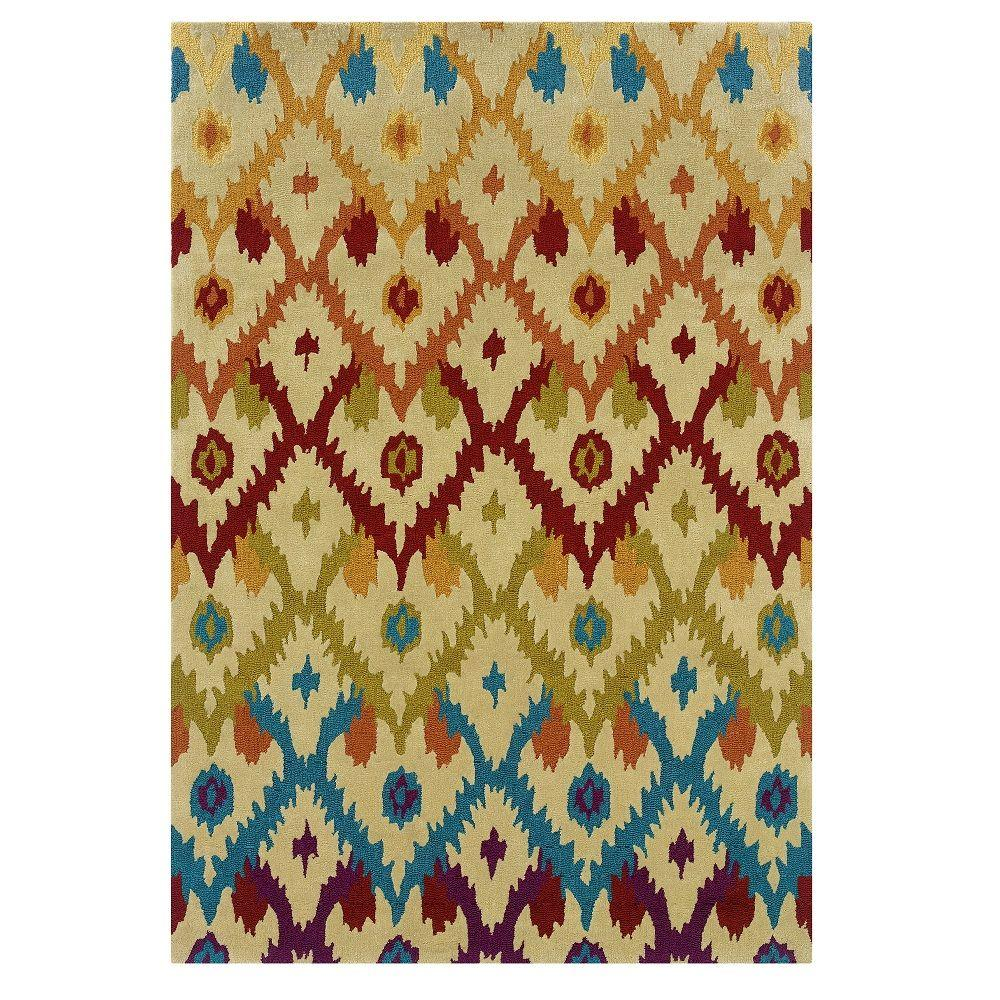 Linon Home Decor Trio Collection Sand and Teal 8 ft. x 10 ft. Indoor Area Rug