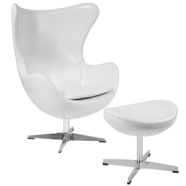 Melrose White Leather Chair and Ottoman Set