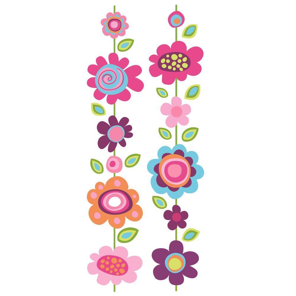 null 8-5/8 in. X 40 in. Flower Stripe 2 -Piece Peel and Stick Locker Skins Wall Applique