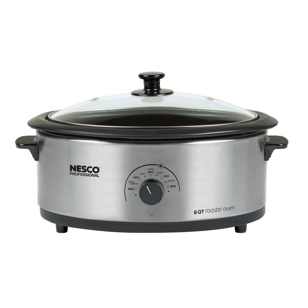 Nesco 6 qt. Non-Stick Roaster in Stainless Steel-DISCONTINUED