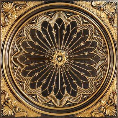 Rose Window 2 ft. x 2 ft. PVC Glue-up or Lay-in Ceiling Tile in Antique Gold