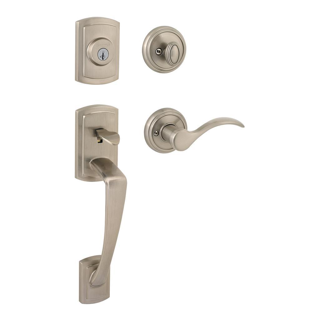 Prestige Nautica Single Cylinder Satin Nickel Door Handleset with Tobin Door Lever Featuring SmartKey Security
