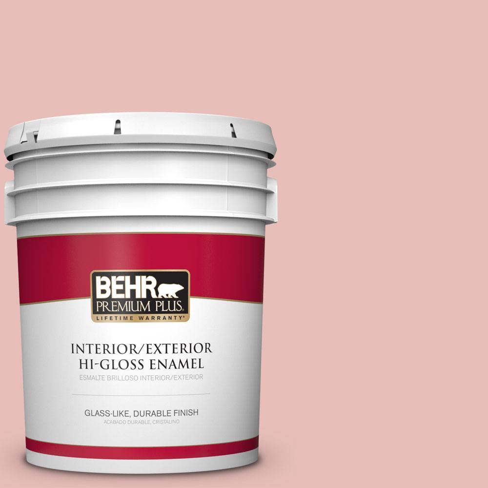 BEHR Premium Plus 5 gal. #T18-01 Positively Pink Hi-Gloss Enamel ...