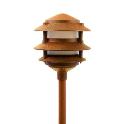 Low Voltage Rust Outdoor Landscape 3-Tier Pagoda Pathway Light