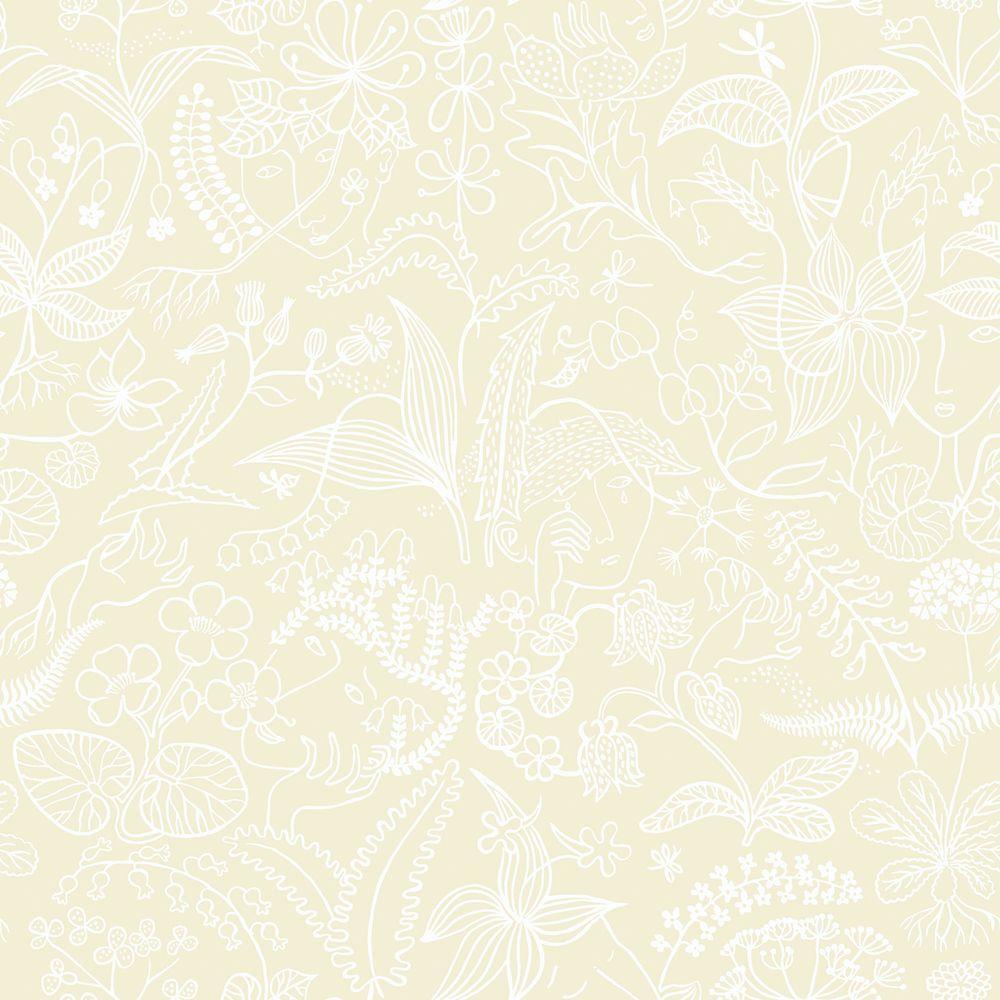 Beige Floral Silhouette Wallpaper