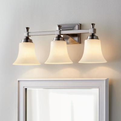 Pearson Heights 3-Light Satin Nickel Vanity Light with Opal Glass Shades